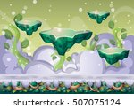 cartoon vector floating island... | Shutterstock .eps vector #507075124
