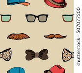 bow tie  glasses and mustache... | Shutterstock .eps vector #507077200
