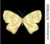 gold lace butterfly on black... | Shutterstock .eps vector #507078868