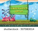 cartoon vector underwater... | Shutterstock .eps vector #507083014