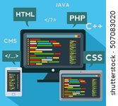 multiple platforms code... | Shutterstock .eps vector #507083020