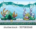 cartoon vector underwater... | Shutterstock .eps vector #507083068