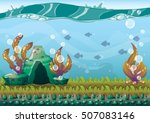 cartoon vector underwater... | Shutterstock .eps vector #507083146