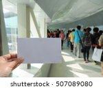 hand holding blank sheet of... | Shutterstock . vector #507089080