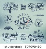 first christmas as family  baby ... | Shutterstock .eps vector #507090490