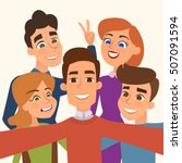 people group taking selfie... | Shutterstock .eps vector #507091594