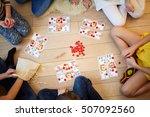 children play russian lotto... | Shutterstock . vector #507092560