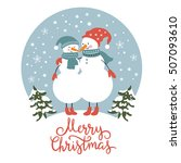 Christmas Card  Cute Snowmen