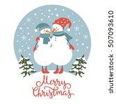 Christmas Card  Cute Snowmen