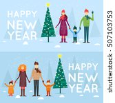 family spending christmas... | Shutterstock .eps vector #507103753