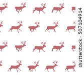 christmas deer seamless pattern.... | Shutterstock .eps vector #507104914