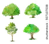 set of trees drawing by... | Shutterstock . vector #507107038