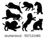 Lion Silhouettes. A Set Of Mal...