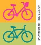 women's bike on orange... | Shutterstock .eps vector #507122704