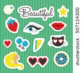 set of stickers. vector... | Shutterstock .eps vector #507124300
