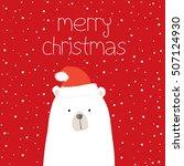 christmas card with santa bear