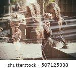 double exposure of sad widow...   Shutterstock . vector #507125338