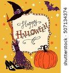 happy halloween  hand drawn... | Shutterstock .eps vector #507134374