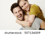 beautiful piggyback couple ... | Shutterstock . vector #507136009