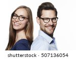 beautiful couple in spectacles  ... | Shutterstock . vector #507136054