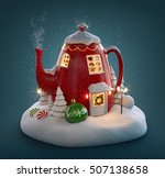 amazing fairy house decorated... | Shutterstock . vector #507138658