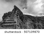 The route to the highest peak of Madeira, Pico Ruivo. - stock photo