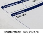 payslip and money close up shot | Shutterstock . vector #507140578