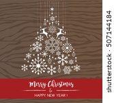 christmas card   wood texture... | Shutterstock .eps vector #507144184