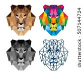 polygon triangle lion head... | Shutterstock .eps vector #507144724