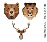 polygon triangle animal lion... | Shutterstock .eps vector #507151528