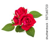 Stock photo red rose flower bouquet isolated on white background cutout 507160723