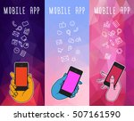 hand of character with mobile... | Shutterstock .eps vector #507161590
