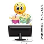 smiley ball enjoying watching a ... | Shutterstock .eps vector #507175378