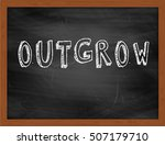 Small photo of OUTGROW hand writing chalk text on black chalkboard