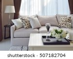 modern living room design with... | Shutterstock . vector #507182704