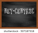 Small photo of NET-CENTRIC hand writing chalk text on black chalkboard