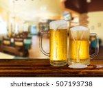 cold light beer mug in a pub | Shutterstock . vector #507193738