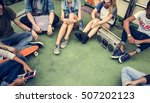 friends hipster teenager... | Shutterstock . vector #507202123