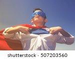 little superhero.  retro toned... | Shutterstock . vector #507203560