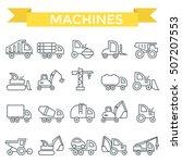 Machines Icon Set  Thin Line...