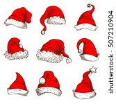 santa claus red hat icon set.... | Shutterstock .eps vector #507210904