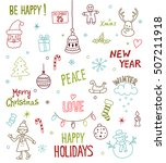 merry christmas and happy new... | Shutterstock .eps vector #507211918