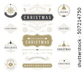 christmas labels and badges... | Shutterstock .eps vector #507214750