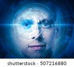 high tech face scan   Shutterstock . vector #507216880