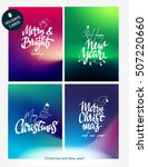 holiday cards with calligraphy. ... | Shutterstock .eps vector #507220660
