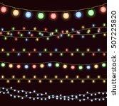 festive christmas garland... | Shutterstock .eps vector #507225820