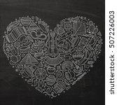 chalkboard vector hand drawn... | Shutterstock .eps vector #507226003