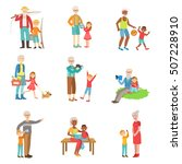 grandparents and kids spending... | Shutterstock .eps vector #507228910