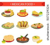 mexican food signature dishes... | Shutterstock .eps vector #507229324
