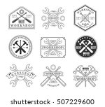 wood workshop black and white... | Shutterstock .eps vector #507229600